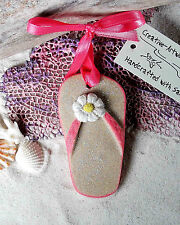 FLIPFLOP Hot Pink Made with Sand Tropical  Beach Ornamen