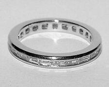 950 PLATINUM 1Ct Baguette Diamond Eternity Wedding Band Ring Size 6.25 Designers