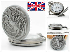 Game of Thrones Daenerys Targaryen Pocket Watch  Chain Vintage GoT *UK Stock