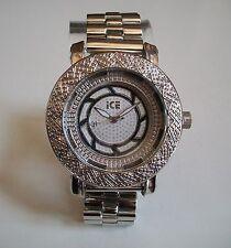 Mens Silver finish metal bracelet heavy designer hip hop  rapper style watch
