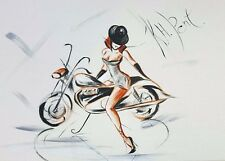 'Little Black Hat Nude with Triumph' Original Painting, Framed