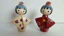 Set Of 2 Cute Hand Made Little Japanese Geisha Wooden Dolls Girls Art Red/Cream