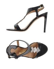 Salvatore Ferragamo Women's Guel Black Leather Sandals/Heels Size 10 US