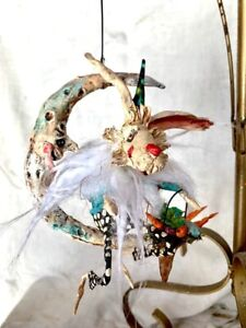 HANDMADE CREEPY WHITE EASTER RABBIT WITH EGGS RIDING MR MOON ORNAMENT 7""