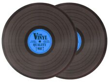 Lot de 2 Sets de table au design de disque rond 39 cm vinyle noir bleu 145088