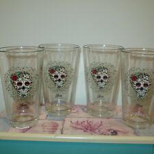 FIESTA SUGAR SKULL AND VINES 16oz ICE TEA COOLER GLASSWARE-SET OF 4