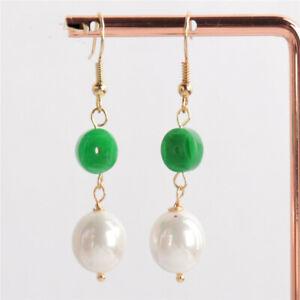 White shell pearl Green jadeite Gemstone Earring 18KGP Dangle Earbob Classic