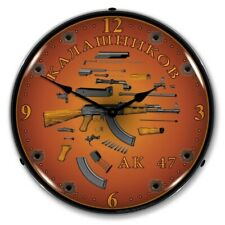 Retro Nostalgic Style Ak47 Guns Ak-47 Fireams Backlit Lighted Wall Clock New