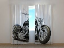 Printed Curtain Black Motorbike Wellmira Ready Made 3D Living Room Grey
