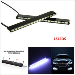Waterproof 2xUltra-Thin Car LED Fog Signal Light Daytime Running Lamp Strip DRL
