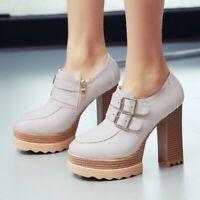 Women's Round Toe Buckle Zip Block High Heel Platform Ankle Boots Casual Low Top