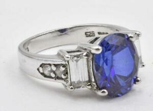 Vintage 925 Sterling Silver & Real Blue & Clear CZ ladies Cocktail ring size 6.5