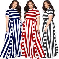 Womens Plus Size Casual Dress Short Sleeve Maix Skirt Stripe Crew Neck L-7XL