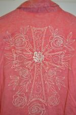 Sherry Cervi RU RODEO CORAL Western Embroidered CROSS ROSE LS Snap Shirt XL