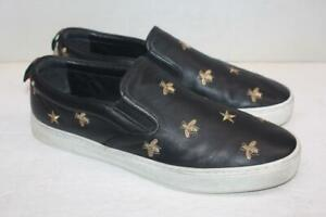 Gucci 407364 Black Leather Bees & Stars Slip On Dublin Shoes Size 14=14.5 US