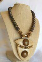 Vintage Artisan Art Deco Celluloid Bakelite Shield Natural Jasper Beads Necklace
