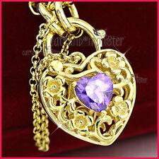 9K YELLOW GOLD GF PURPLE AMETHYST FILIGREE BELCHER CHAIN HEART PADLOCK BRACELET