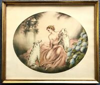 Vintage Art Deco 1936 Woman & Russian Wolfhounds L.C. Renart Lithograph Signed