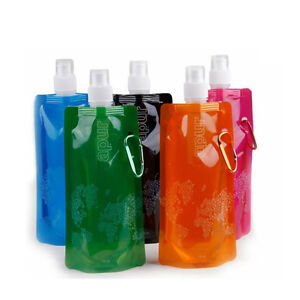 480ml Flexible Collapsible Foldable Reusable Water Bottles Ice Bag Outdoor Sport