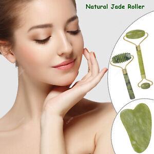 3pcs Jade Massage Kit Gua Sha Roller Beauty Tool Facial Eye Body Anti Ageing Set
