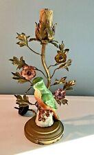 ANTIQUE FRENCH BRONZE DRESSER LAMP TOLE PORCELAIN FLOWERS, PORCELAIN BIRD