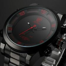 SHARK Black Red Stainless Steel LED Day Date Analog Men Sports Quartz Watch Gift