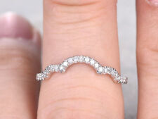 Wedding Bands For Her 925 Silver Half Eternity Ring Antique Curved Matching Band