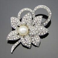 Women Vintage Rhinestone Crystal Wedding Bridal Bouquet Flower Pearl Brooch Pin
