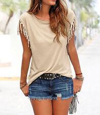Fashion Women's Summer Loose Top Short Sleeve Tassel Blouse Casual Tops T-Shirt