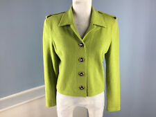 JSS Collection Green Santana Knit Wool Blend Green Black S Blazer Jacket EUC