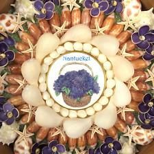 "Seashell Art SAILORS VALENTINE 7 1/2"" Octagon Shell Mosaic - Hydrangeas"
