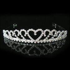 Faux Crystal Diamante Wedding Bridal Crystal Veil Tiara Crown Headband Headpwear