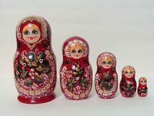 "New Hand Painted 6"" Russian Nesting Doll Matryoshka 5 Pc Set Signed By Artist"