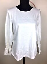 Witchery M white basic 100% Cotton women top shirt casual bell sleeves fashion