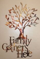"""Family Gathers Here Olive Tree 21 1/2"""" x 14"""" Metal Wall Art Copper/Bronze"""