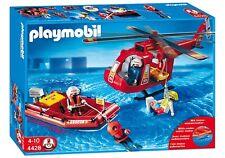Playmobil helicoptero de rescate salvamento marítimo SOS lancha zodiac buzo 4428