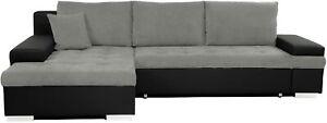 Sofa - Bangkok Sofa Bed With Storage - Fabric & Leather- Black/Grey, White/Grey