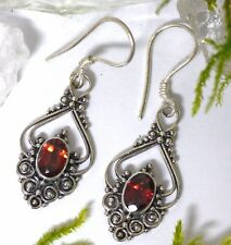 schöne Handarbeit  925 Silber Ohrhänger Granat Ohrschmuck Ohrringe Mittelalter