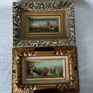 2 Vintage? oil painting framed signed, French Theme, Hunting Park, Guc