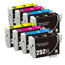 8PK Reman 252XL High Yield Black Color Ink Cartridge For Epson WorkForce WF-3640