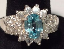 Victoria Wieck Sterling Silver Diamond Aquamarine Topaz Stone Ring Size 8.5