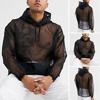 Mens See Through Mesh Muscle T Shirts Long Sleeve Hoodies Gym Fitness Tee Shirts