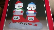 """New 48"""" tall snowman in stocking races Christmas  inflatable airblown"""