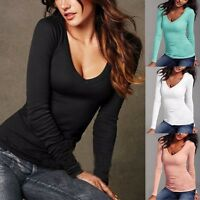 Autumn Ladies Women Blouse Long Sleeve V Neck Slim Casual Bottoming Shirt Tops