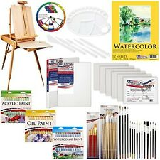 Complete Artist Painting Set Tubes Easel Brushes Oil Wood Drawer Wheel Canvas