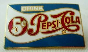 1980's DRINK PEPSI-COLA PIN*Gold Cloisonne*Red/White/Blue Enamel*NEW!!