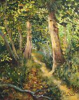 "NEW DAVID ALDUS ORIGINAL ""Nightingale Path"" Landscape rural country OIL PAINTING"
