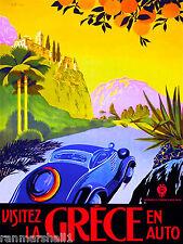 Greece Greek Grece by Car Europe European Vintage Travel Advertisement Poster