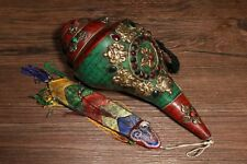Tibetan Conch Shell Inlay turquoise Red Coral gem silver Sakyamuni Trumpet Horn