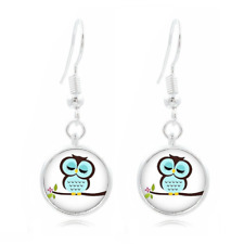 Cartoon Owl glass Frea Earrings Art Photo Tibet silver Earring Jewelry #404